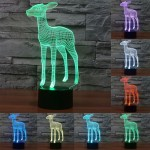 Deer Style USB Charging 7 Colour Discoloration Creative Visual Stereo Lamp 3D Touch Switch Control LED Light Desk Lamp Night Lig
