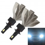 2 PCS S7 H7 40W 3200 LM 6000K IP68 Car Headlight with 2 COB Lamps and Heat Dissipation Cable, DC 9-30V(White Light)