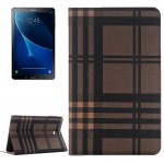 For Samsung Galaxy Tab A 10.1 / T580 Lattice Stripes Texture Horizontal Flip Leather Case with Holder & Card Slots & Wallet(Coff