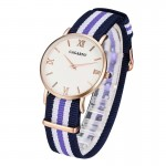 CAGARNY 6813 Fashionable Ultra Thin Rose Gold Case Quartz Wrist Watch with 5 Stripes Nylon Band for Women(Blue)