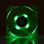 8025 4 Pin DC 12V 0.18A Computer Case Cooler Cooling Fan with LED Light, Size: 80x80x25mm (Green)