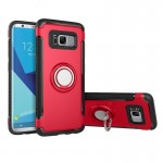 For Samsung Galaxy S8 + / G9550 Phone Ring Armor TPU + PC 360 Degrees Rotation Magnetic Phone Ring Stent Combination Case(Red)