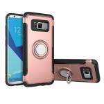 For Samsung Galaxy S8 + / G9550 Phone Ring Armor TPU + PC 360 Degrees Rotation Magnetic Phone Ring Stent Combination Case(Rose G