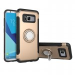 For Samsung Galaxy S8 + / G9550 Phone Ring Armor TPU + PC 360 Degrees Rotation Magnetic Phone Ring Stent Combination Case(Gold)