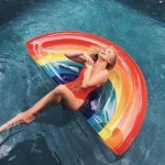 Inflatable Rainbow Shaped Floating Mat Swimming Ring, Inflated Size: 180 x 90cm