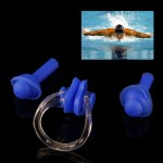 Soft Silicone Swimming Nose Clip and Ear Plug Set Earplug(Blue)