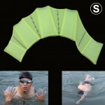 Silicone Swimming Web Fins Hand Flippers Training Gloves, S(Green)