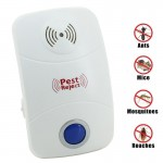 Electronic Ultrasonic Mosquito Rat Pest Control Repeller with LED Light, UK Plug, AC90V-250V(White)