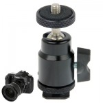 Aluminum Alloy Hot Shoe Tripod Heads, 1/4 inch Male Screw Adapter