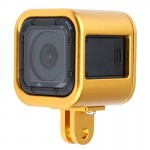 Housing Shell CNC Aluminum Alloy Protective Cage with Insurance Back Cover for GoPro HERO4 Session(Gold)