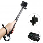 Handheld Aluminium Extendable Pole Monopod with Screw & Strap & Remote Control Buckle for GoPro HERO5 /4 /3+ /3 /2 /1, Xiaoyi Sp