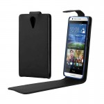 Vertical Flip Magnetic Snap Leather Case for HTC Desire 620(Black)