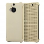 For HTC One M9+ / M9 Plus Smart Flip Dot View Case with Sleep and Wake-up Function(Gold)