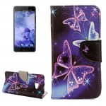 For HTC U Ultra Purple Crystal Butterflies Pattern Horizontal Flip Leather Case with Holder & Card Slots & Wallet
