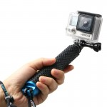 Handheld Extendable Pole Monopod with Screw for GoPro HERO4 /3+ /3 /2, Max Length: 49cm(Blue)