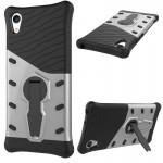 For Sony Xperia XA1 Shock-Resistant 360 Degree Spin Sniper Hybrid Case TPU + PC Combination Case with Holder(Silver)