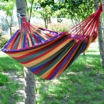Red and Yellow Stripe Outdoor Canvas Hammock Portable Beach Swing Bed, Size: 200*150cm