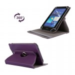 Litchi Texture 360 Degree Rotatable Universal Leather Case with Sleep / Wake-up & Holder for 7.0 inch Tablet PC (Purple)