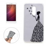 Xiaomi Redmi Note 4 Butterfly and Girl Pattern Transparent Soft TPU Protective Back Cover Case