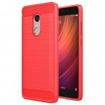 Xiaomi Redmi Note 4X Brushed Carbon Fiber Texture Shockproof TPU Protective Case (Red)