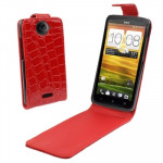 Crocodile Texture Vertical Flip Holster Leather Case for HTC One X / Edge / S720e (Red)