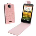 Crocodile Texture Vertical Flip Holster Leather Case for HTC One X / Edge / S720e (Pink)