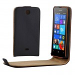 Vertical Flip Magnetic Button Leather Case for Microsoft Lumia 430(Black)