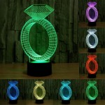 Diamond Ring Style USB Charging 7 Colour Discoloration Creative Visual Stereo Lamp 3D Touch Switch Control LED Light Desk Lamp N