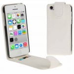 Vertical Flip Leather Case with Credit Card Slot for iPhone 5C(White)