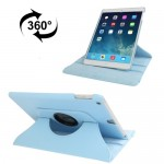 For iPad 9.7 inch 2017 & Air 2 & Air 360 Degree Rotation Litchi Texture Leather Case with 2 Gears Holder(Blue)