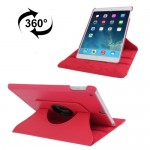 For iPad 9.7 inch 2017 & Air 2 & Air 360 Degree Rotation Litchi Texture Leather Case with 2 Gears Holder(Red)