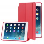 3-folding Naturally Treated Leather Smart Case with Sleep / Wake-up Function & Holder for iPad Air(Red)
