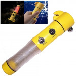 4 in 1 Multi Function Flashlight Alarm Emergency Hammer LED Flash Light For Auto-used(Yellow)