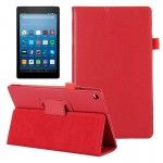 For Amazon Kindle Fire HD8 (2017) Litchi Texture Horizontal Flip Leather Case with Holder (Red)