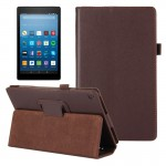For Amazon Kindle Fire HD8 (2017) Litchi Texture Horizontal Flip Leather Case with Holder (Brown)