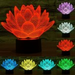 Lotus Style USB Charging 7 Colour Discoloration Creative Visual Stereo Lamp 3D Touch Switch Control LED Light Desk Lamp Night Li