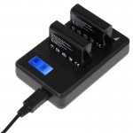 LCD Screen Dual Batteries Charger for GoPro HERO4 (AHDBT-401), Displays Charging Capacity