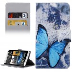 For HTC Desire 530 Blue Butterfly Pattern Horizontal Flip Leather Case with Holder & Card Slots & Wallet