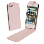 Soft Texture Up and Down Open Leather Case for iPhone 5 & 5s & SE & SE (Pink)