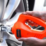 Car Auto 100W 340N*M Electric Impact Wrench with Two Fuse Tubes Two Sockets for 17-19mm and 21-23mm(Orange)