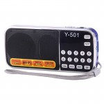 Y-501 Portable Hi-Fi FM AM Radio Speaker, Rechargeable Li-ion Battery, LED Light, Support Micro TF Card / USB / MP3 Player