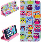 Owl Pattern Leather Case with Credit Card Slots & Holder for iPhone 5 & 5S