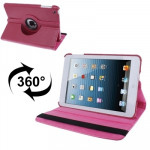 360 Degree Rotatable Litchi Texture Leather Case with Holder for iPad mini 1 / 2 / 3 (Magenta)