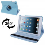 360 Degree Rotatable Litchi Texture Leather Case with Holder for iPad mini 1 / 2 / 3 (Baby Blue)