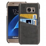For Samsung Galaxy S7 / G930 Oil Wax Texture Leather Back Cover Case with Card Slots (Grey)