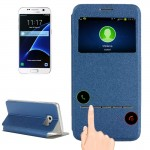 For Samsung Galaxy S7 / G930 Horizontal Flip Leather Case with Holder & Call Display ID(Blue)