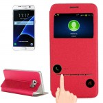 For Samsung Galaxy S7 / G930 Horizontal Flip Leather Case with Holder & Call Display ID(Red)