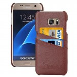 For Samsung Galaxy S7 / G930 Litchi Texture Fashion Genuine Leather Back Cover Case with Card Slots(Brown)
