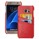 For Samsung Galaxy S7 / G930 Litchi Texture Fashion Genuine Leather Back Cover Case with Card Slots(Red)