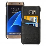 For Samsung Galaxy S7 Edge / G935 Litchi Texture Fashion Genuine Leather Back Cover Case with Card Slots(Black)